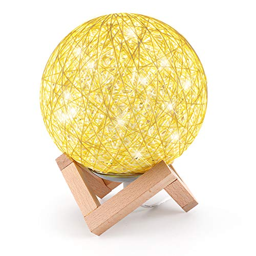Night Lights for Kids,Sunhanny Dimmable LED Bedside Night Lamp with Wooden Stand,5.9in Rattan Nightstand Lamp with USB Charger for Child Sleeping,House Decorating, Yellow