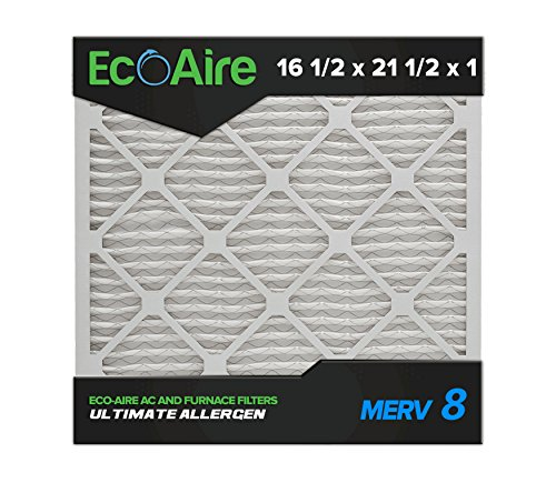 Eco-Aire 16 1/2x21 1/2x1 MERV 8, Pleated Air Filter, 16 1/2 x 21 1/2 x 1, Box of 6, Made in the USA Air Conditioner Handler