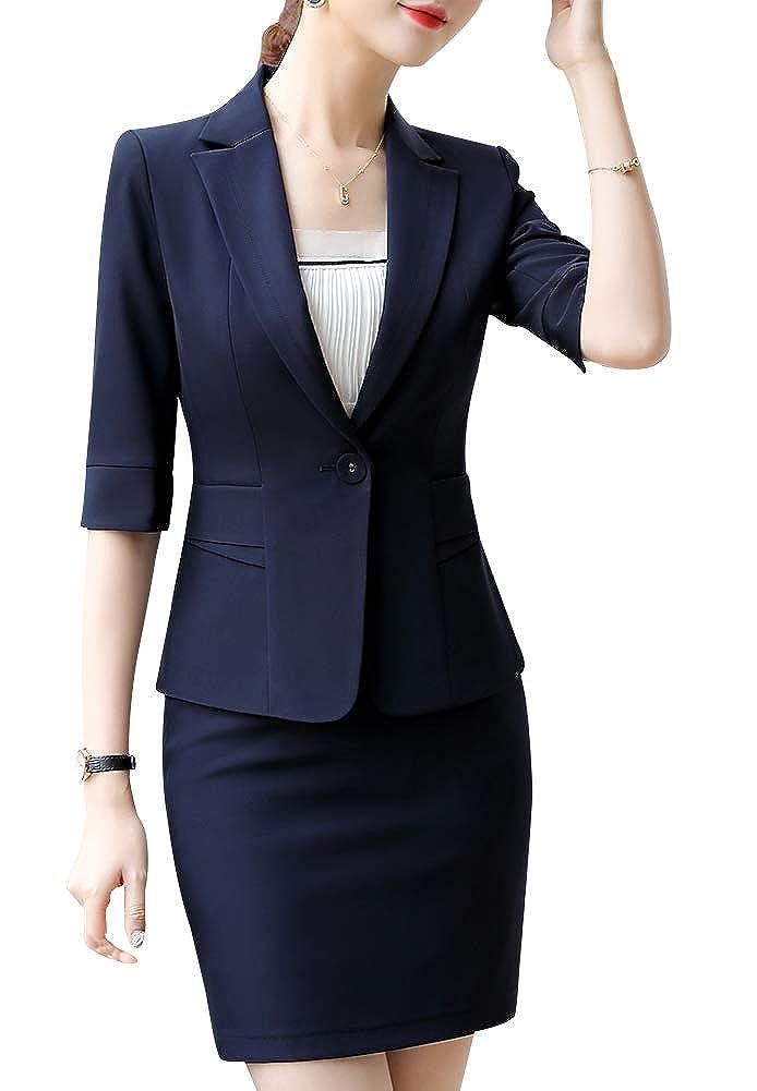 blueeqz826 LISUEYNE Women Blazer Two Pieces Work Office Blazer Suit Formal Business Suits for Women Blazer Jacket &Pant Skirts
