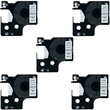 "5 PK Black on White Tape Label Compatible with DYMO 40913 D1 9mm 3//8/"" 7M LM 160"