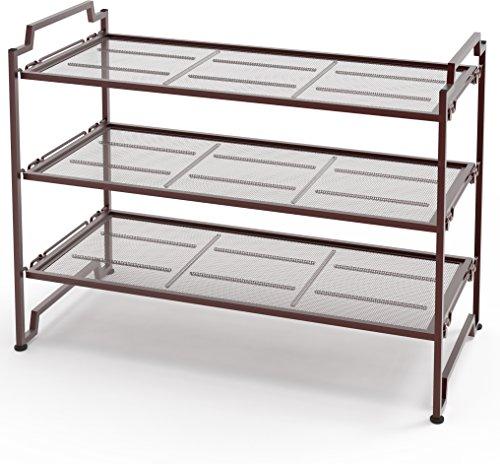 Tier Stackable Shoe Rack (3-Tier Stackable Shoe Shelves Storage Utility Rack, Bronze)