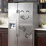 Vacally Wall Fridge Sticker Refrigerator Happy Delicious Face Kitchen Fridge Vinyl Stickers Art Wall Decal Home Decor Cute