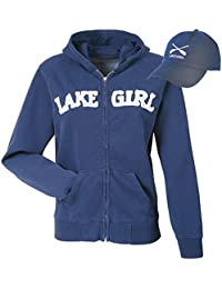 Women's Lake Girl Zip Navy Hoodie Sweatshirt and Matching Hat Set