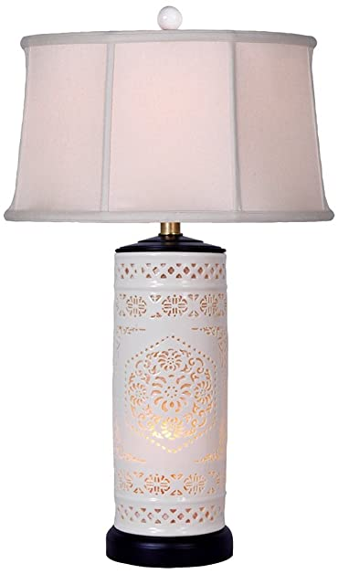 Pierced Bone China with Drum Shade Night Light Table Lamp - Table ...