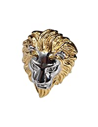 Retro 316L Stainless Steel Roaring Lion King Mens Ring Engraved Carved, Gold Vintage Tone