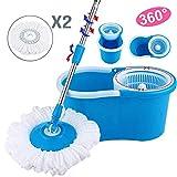 PrimeTrendz 360° Easy Clean Floor Mop Bucket 2 Heads Microfiber Spin Rotating Head Blue