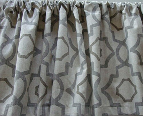 Check Decorator Fabric (Valance Gray Beige Cream Geometric Lattice Pattern Custom Made Window Treatment Decorator Fabric)