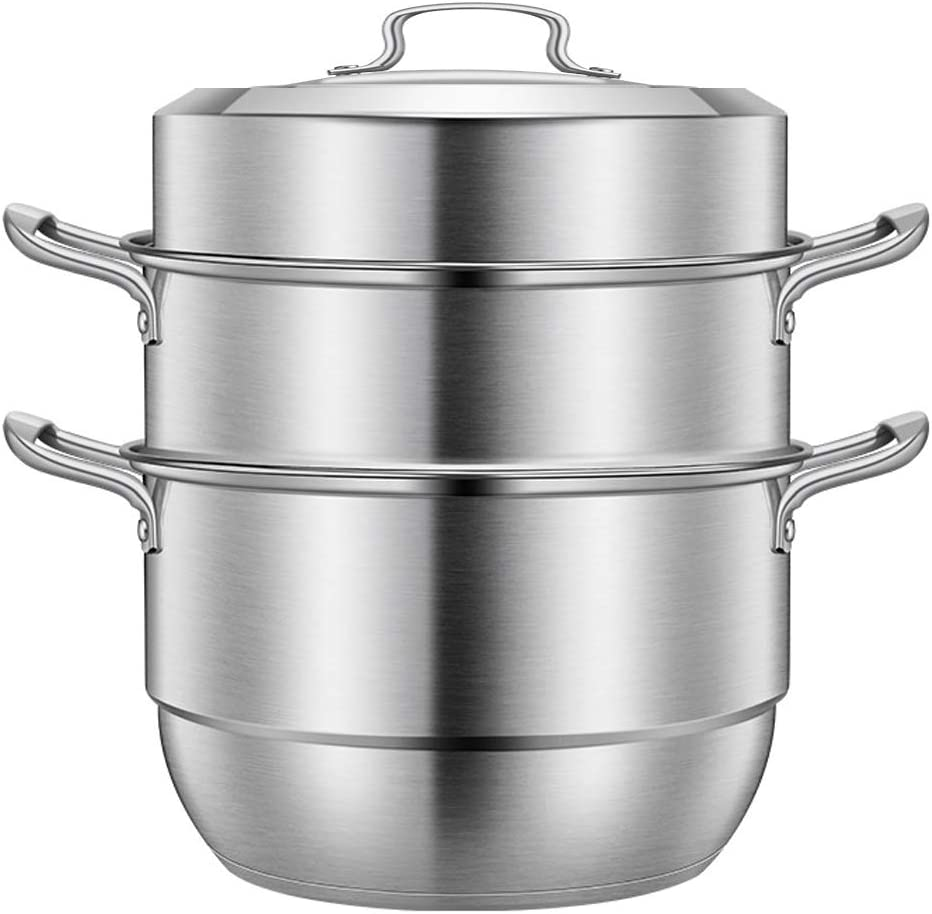 Beeiee Steamer Pot, Steaming Cookware, Multi-layer Boiler, 9Qt Stainless Steel 11inch Steamer cooking pot, work with Gas, Electric and Grill stove top