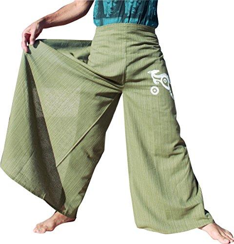 RaanPahMuang TC Stripe Cotton Drive in Wrap Pants Hand Screen Kangaroo Print, Medium, Avocado Green