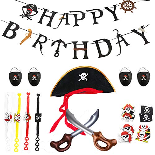 Pirate Birthday Party Supplies Kit,Pirate Favor Toy Bundle,Including Pirate Themed Inflatable Swords,Eye Patches,Hats, and Caribbean Pirates Silicone Toy Rings and Wristbands Bracelets -
