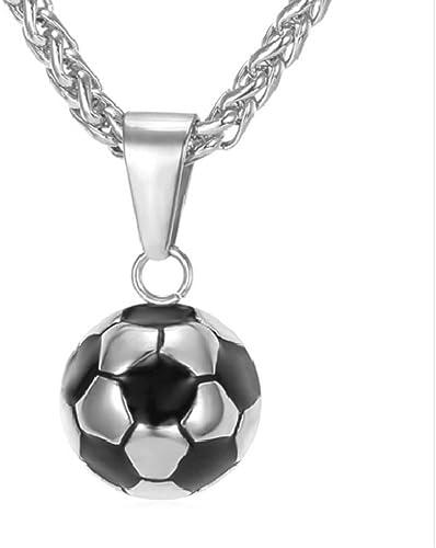 Collar de acero para hombre con diseño de balón de fútbol: Amazon ...