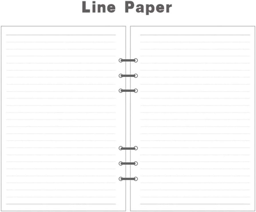 intercalaires A5 recharges pack de 4 recharges de journal en cuir blocs notes intercalaires pour agenda 6 trous de 180 feuilles// 360 pages Recharge de papier lign/é A5 SUNSHINETEK 21 * 14.2 cm