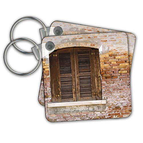 3dRose Danita Delimont - Italy - Wooden shutters and brick wall, Burano, Veneto, Italy - set of 6 Key Chains (kc_313738_3)