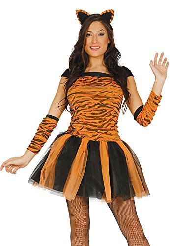 Ladies Sexy Tiger Cat Animal Tutu Hen Do Halloween Festival Carnival Party Fancy Dress Costume Outfit (UK 8-10) Orange-Black ()