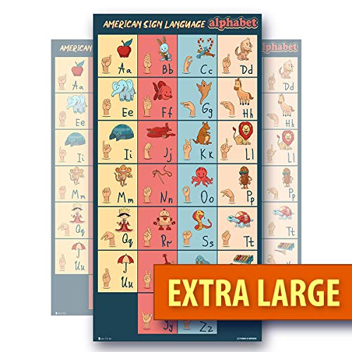 Sign Language Kids Alphabet Super Extra Large Laminated Poster Young N Refined (18x30)