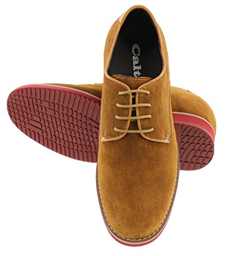 Calto G65035-3,2 Inches Taller - Height Increasing Elevator Shoes - Nubuck Brown Lace-up Casual Schoenen