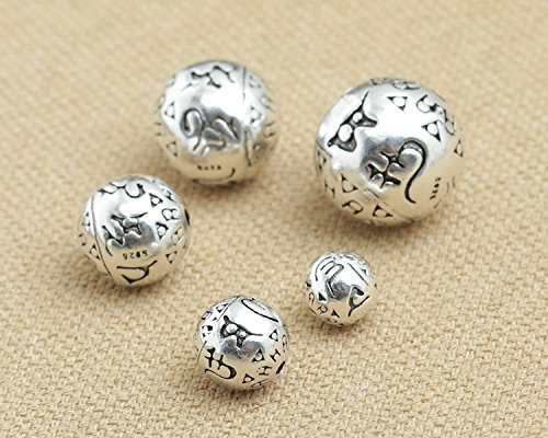- Luoyi Thai Sterling Silver Charm Beads, Round with Mantra, Spacer Beads, DIY Jewelry (C002Z) (8mm)