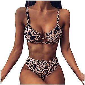 Rawdah_Bikini Costumi da Bagno Donna Due Pezzi Brasiliana Sexy Bikini Costume da Bagno al Mare Spiaggia Leopardo Stile… 1 spesavip