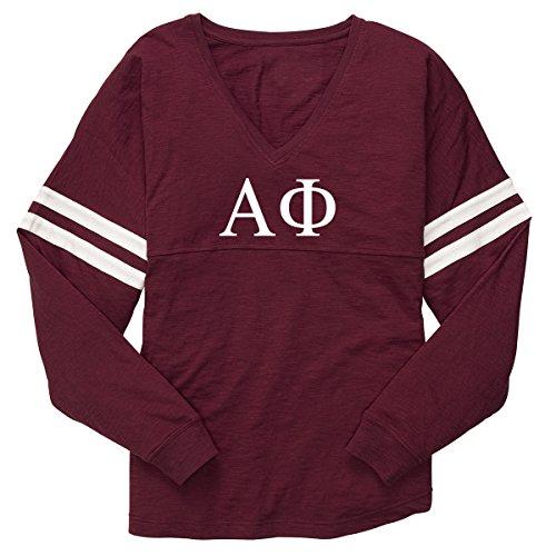 Alpha Phi Varsity Slub Long Sleeve T-Shirt - Maroon (S 4/6, Maroon)