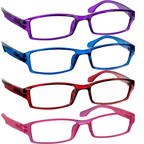 - Reading Glasses 4.50 Purple Blue Red Pink F501