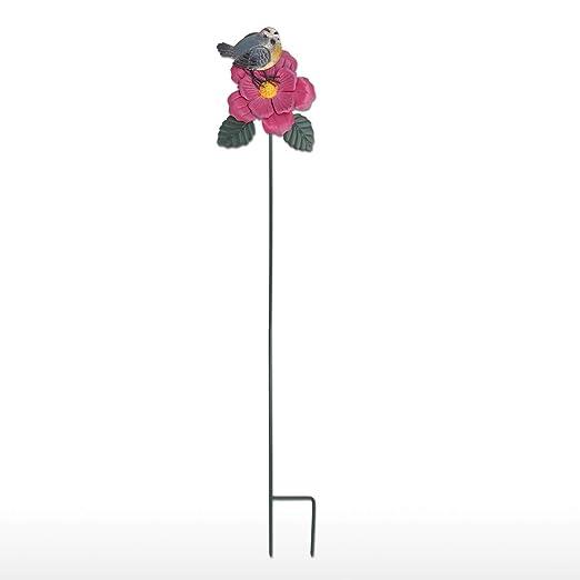 Fesjoy Jilguero de jardín y estaca de Flores,estaca de Patio de ...
