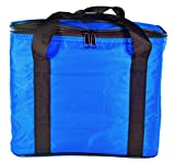 "Portion Perfect Insulated Lunch Bag for Camping, Work, Woman and Men. Cooler Bag is Royal Blue with Black Trim. Perfect lunch tote when on the go. Dimensions: 9"" tall x 7 1/4"" X 11 1/2"""
