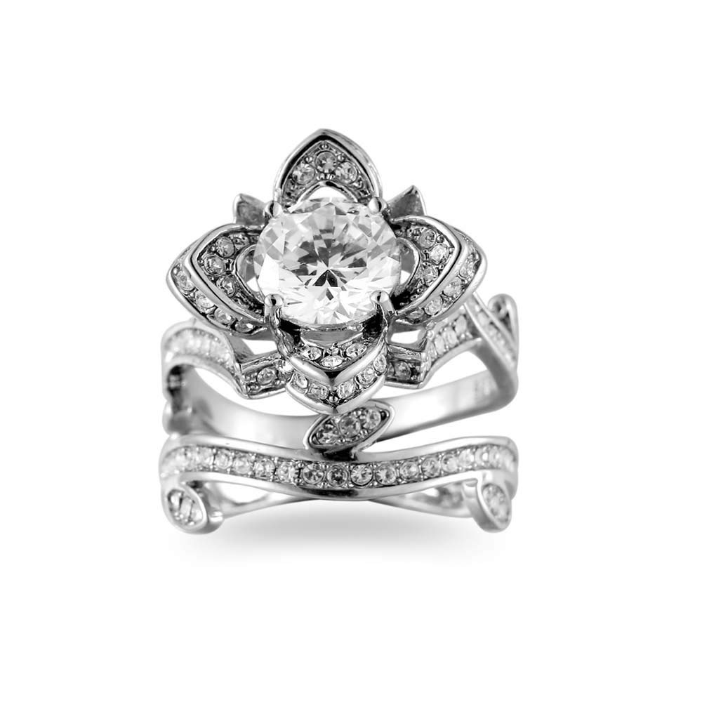 Haluoo Jewelry Womens Lotus Flower Engagement Ring Silver Titanium Steel Promise Wedding Band Bohemian Ring Band for Lady Girls
