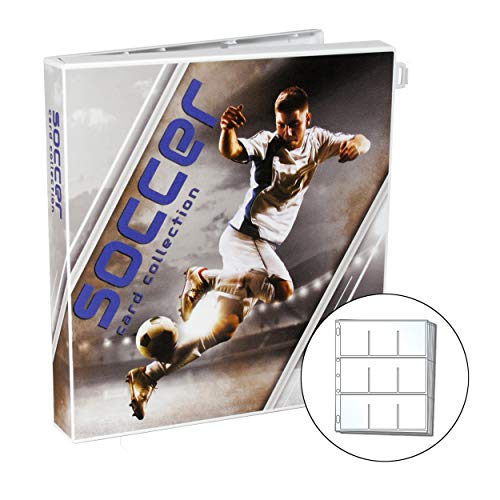 UniKeep Soccer Themed Trading Card Collection Binder with 10 Platinum Series Trading Card Pages. Fully Enclosed Case with a Locking Latch to Keep Cards Secure