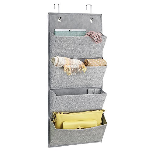 MDesign Wall Mount/Over Door Fabric Closet Storage Organizer For Clutch  Purses, Handbags, Scarves, Sunglasses   4 Pockets, Gray