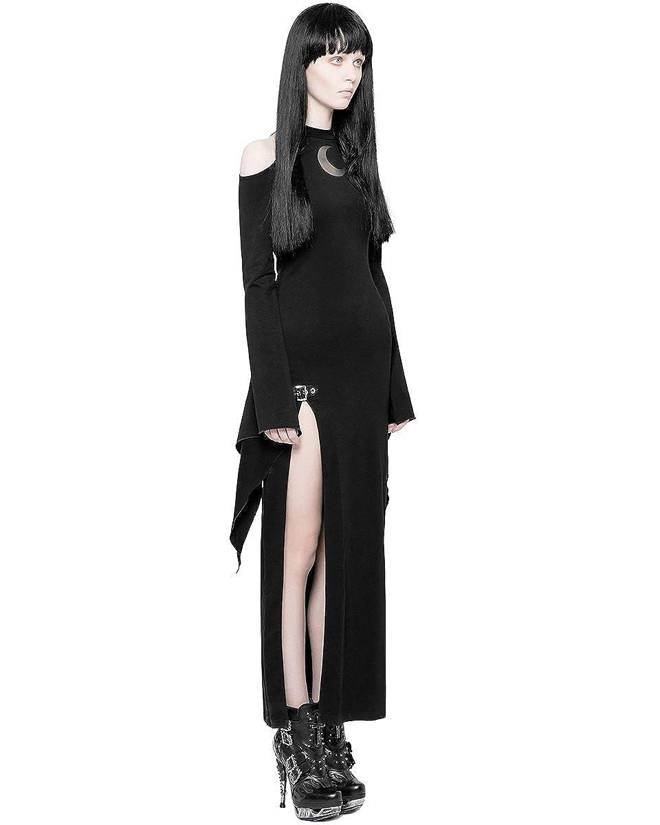 b54ebfad4f4c Punk Rave Gothique Robe Maxi Noir pour Femmes Dos Séparé Manches Longues Sorcière  Occulte Moon  Amazon.fr  Vêtements et accessoires