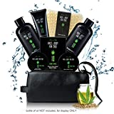 Sandalwood Bath and Body Gift Basket Set for Men with Hemp Oil Extract - Fathers day Birthday Holiday Gift Ideas for Him, Luxury 8 Pack Relaxing at Home Skincare Kit with Shaving Cream, Toiletry Bag