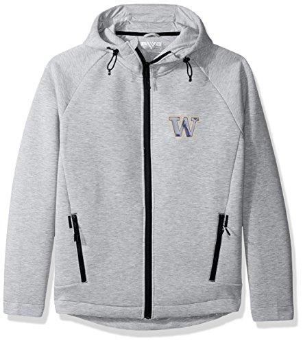 Pebble Fleece Zip Jacket (NCAA Washington Huskies Adult Men Titan Insignia Full Zip Hooded Jacket, Large, Heather Pebble)
