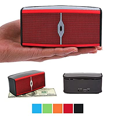 Bluetooth Speakers, Alpatronix AX400 Portable 8W Mini Bluetooth Wireless Rechargeable Stereo Speaker with Mic, Volume/Playback Controls, Passive Subwoofer for Smartphones, Tablets & Computers - Red