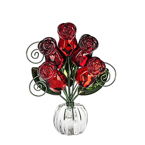 Rose Posy Flower Bouquet 4.5 Inch Acrylic Tabletop Photo Holder Figurine - Red (Figurine Rose)