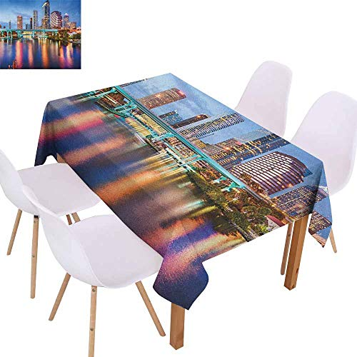 Fabric Dust-Proof Table Cover City Hillsborough River Tampa Florida USA Downtown Idyllic Evening at Business District Party W60 xL102 Multicolor -
