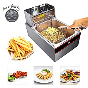 Koval Inc. Stainless Steel Commercial Electric Deep Fat Fryer with Basket (6L, Silver Single Tank)