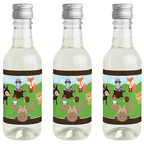 Woodland Creatures - Mini Wine and Champagne Bottle Label Stickers - Baby Shower or Birthday Party Favor Gift for Women and Men - Set of 16