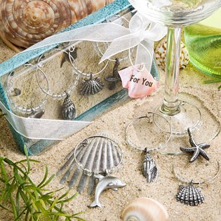Unique Beach Themed Wine Charms, 96 by Fashioncraft