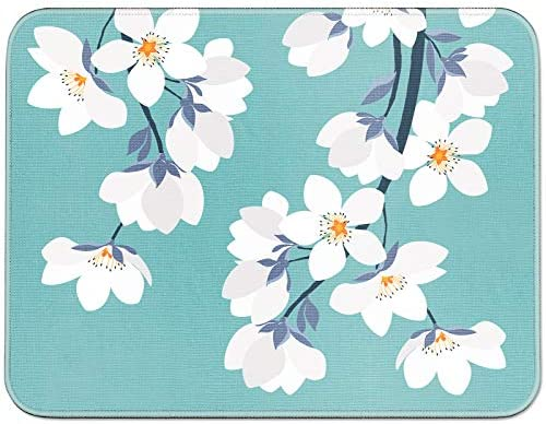 YOOMAS Mouse Pad Floral with Non-Slip Rubber Base, Flower Print Mouse Mat with Stitched Skin-Friendly Edges for Gaming, Working, Studying - Windflower/White