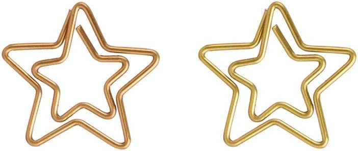 KOOBA Cute Paper Clips 20pcs Star Shape Rose Gold and Yellow Gold, Funny Paperclips Bookmarks Planner Clips for Fun Office Supplies School Gifts Wedding Decoration