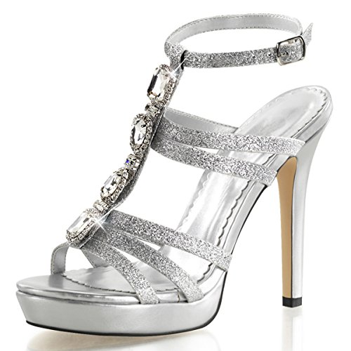 Womens Silver Sparkly Heels T Strap Sandals Rhinestones 4 3/4 Inch Heels Shoes Size: 9 (T-strap Mini Platform)