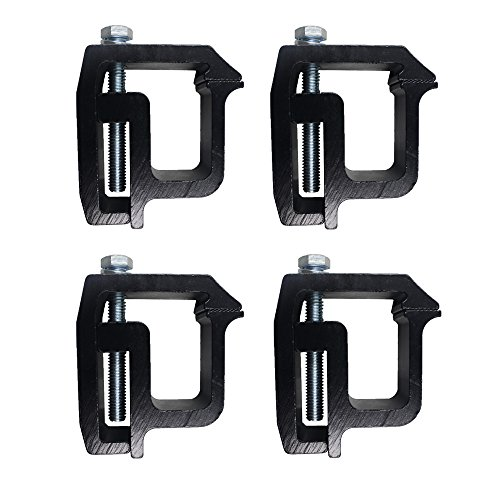 iFJF Mounting Clamps Truck Caps Camper Shell Powder-Coated fit Chevy Silverado Sierra 1500 2500 3500,Dodge Dakota Ram 1500 2500 3500,Ford F150 F250,Nissan Titan,Toyota Tundra Set of 4 (Black) (Shell Bed Hard Cover Trucks For)