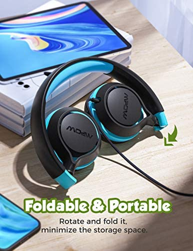 Kids Headphones, Mpow CHE1 Wired Headphones for Kids Teens Children Boys with Volume Limit 94dB, Foldable Adjustable On Ear Headphones for School, Travel, Compatible with Cellphones, Tablets, PC