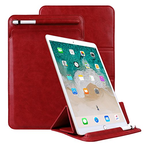 iPad 9.7 Sleeve with Pencil Holder, YiMiky iPad 9.7 Sleeve with Pencil Holder Trifold Stand Vintage Cover Slim Protective Pouch Folio Case Business Style for 2 iPad 9.7 Inch 2017/2018 - Red