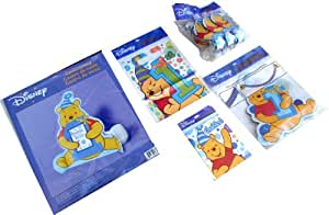 """5 Item Disney Winnie the Pooh First Birthday Party Supplies Set: HUGE 17.5"""" Winnie Pooh Centerpiece (Holds 4x6 Photo), 1st Birthday Winnie Pooh Banner (8'), 8 Winnie Pooh Blowouts, 8 Winnie Pooh Treat Snacks, 8 Winnie Pooh Thank You Notes with Envelopes (5 Item Bundle)"""