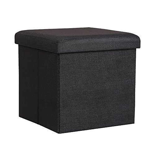 Fabric Small Bench (InSassy Folding Storage Ottoman Bench Foot Rest Toy Box Hope Chest Linen-like Fabric - Small - Black)