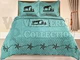 Western Collection 3 Piece Western Style Quilt Bedspread with Pillow Shams (Turquoise Praying, Queen)