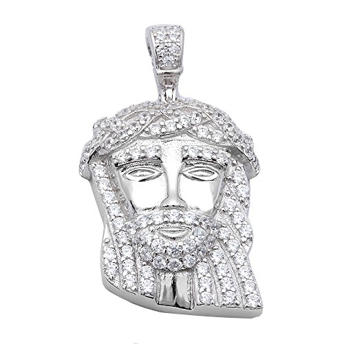 Hip Hop Style 1.50CT Micro Pave Cubic Zirconia Jesus Piece .925 Sterling Silver Pendant (Sterling Silver Jesus Piece)