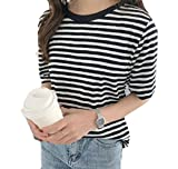 Young2 Women Blouse Striped Crew-Neck Short Sleeve Shirt Simple T Shirts Tops Black+White OS