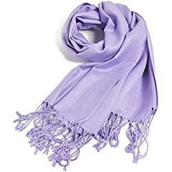 Premium Large Soft Silky Pashmina Shawl Wrap Scarf in Solid Colors (Lavender)